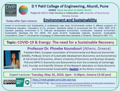 Speech of Prof. Koundouri to International FDP (OE4BW) UNESCO Project, on Environment and Sustainability for 614 faculty from India
