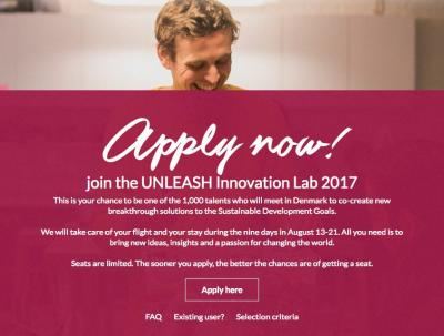 Sponsorships available for participation in the 2017 UNLEASH SDG Innovation Lab