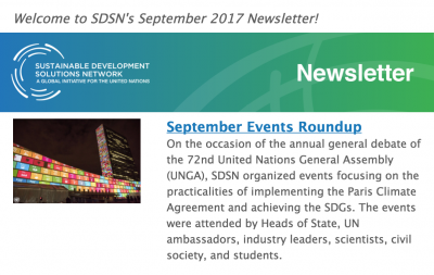 SDSN September 2017 Highlights